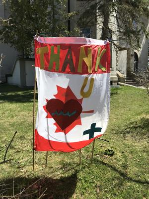 Canadian Flag Thank You Sign