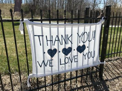 Thank you sign at AMICA