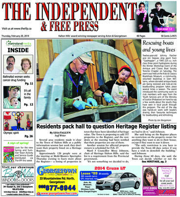 Independent & Free Press (Georgetown, ON), 20 Feb 2014