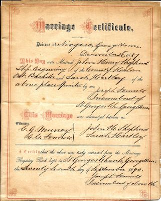 Marriage Certificate of John Henry Shepherd and Sarah Hartley
