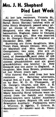Sarah Shepherd (Hartley) Obituary
