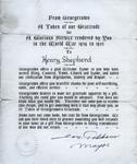Henry Shepherd, Letter of Gratitude for Service