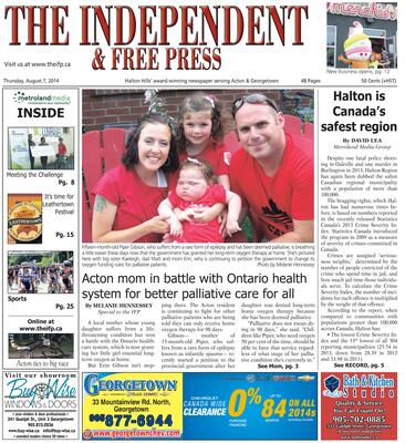 Independent & Free Press (Georgetown, ON), 7 Aug 2014
