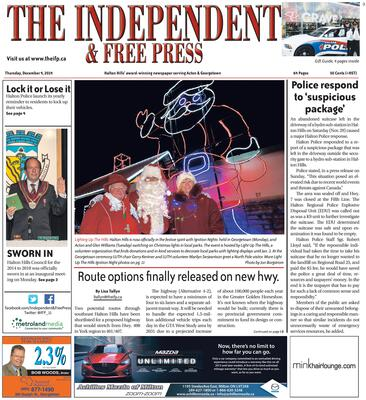 Independent & Free Press (Georgetown, ON), 4 Dec 2014