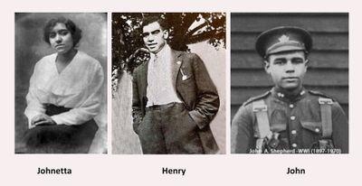 Portraits of Johnetta, Henry, and John Shepherd