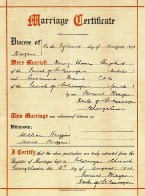 Henry Shepherd and Susanna Maude Cox Marriage Certificate