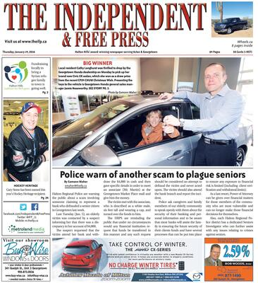 Independent & Free Press (Georgetown, ON), 14 Jan 2016