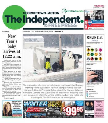 Independent & Free Press (Georgetown, ON), 4 Jan 2018