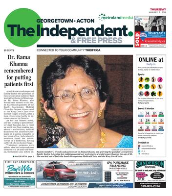 Independent & Free Press (Georgetown, ON), 11 Jan 2018