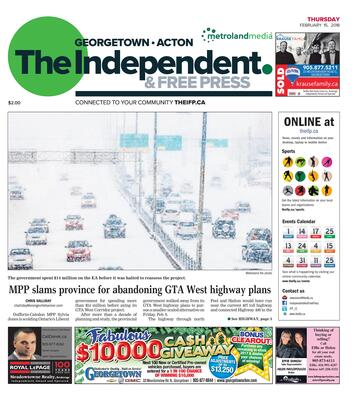 Independent & Free Press (Georgetown, ON), 15 Feb 2018