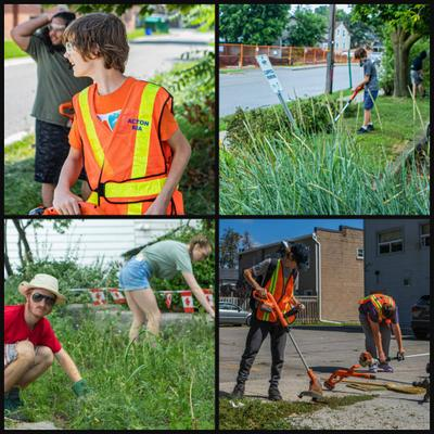 Local Youth working hard to clean up Acton Parkette