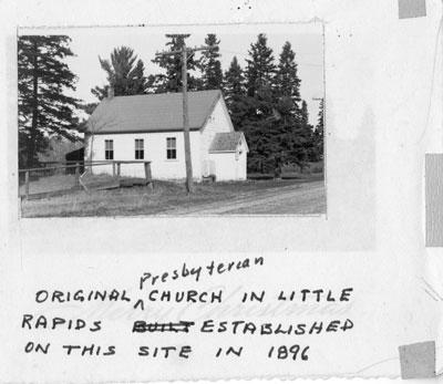 Original Little Rapids Presbyterian Church, circa 1940