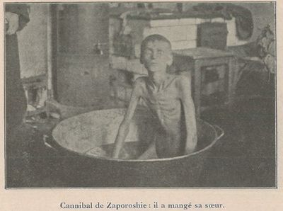 Non-Holodomor: A youth crazed with hunger sits in a basin in a Ukrainian village