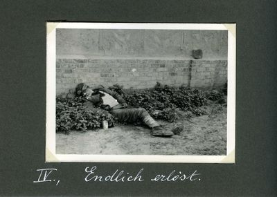 A farmer lies dead of starvation among the shrubs of a house in Kharkiv (Death by starvation series, no. 4)