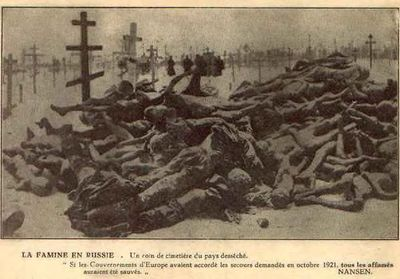 Non-Holodomor: Russian cemetery in the winter of 1921-1922, with a large pile of frozen, unburied corpses in the foreground
