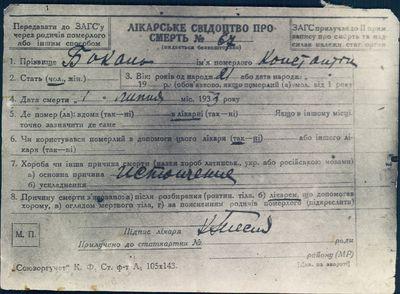 Death Certificate of Konstantin Bokan