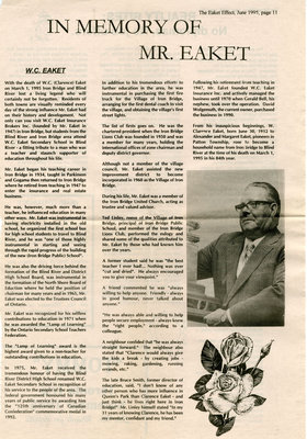 In Memory of W. C. Eaket, June 1995