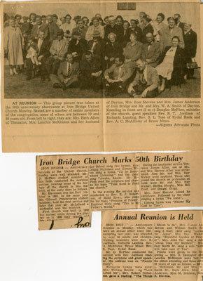 Iron Bridge United Church Celebrates 50th Anniversary, 1942