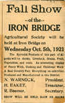 Iron Bridge Fall Show of Agricultural Society, 1921