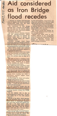 Aid Considered As Iron Bridge Flood Recedes - Iron Bridge, May 3, 1979