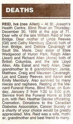 Obituary For Iva (Allen) Reid - December 1999