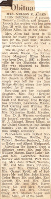 Obituary For Mrs. Nelson E. Allen - January 1961