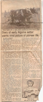 Diary of Early Algoma Settler Paints Vivid Picture of Pioneer Life -Circa 1976