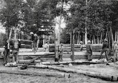 Building the Log Cabin for Iron Bridge Museum, 1974