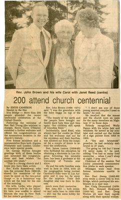200 Attend Iron Bridge United Church Centennial, 1992