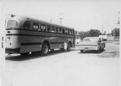 New School Bus, Tulloch Bus Lines, Iron Bridge, 1959