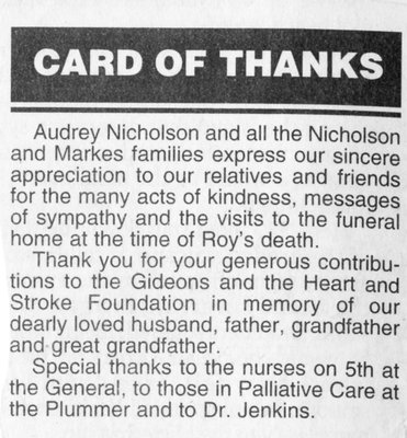 Card of Thanks on Roy Nicholson Loss, 2002
