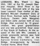 Obituary for Mrs. Viesti Lessard, Iron Bridge, 1991