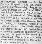 Obituary for Richard de Monye, Iron Bridge, 1993
