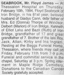 Obituary for Floyd James Seabrook, Thessalon, 1994
