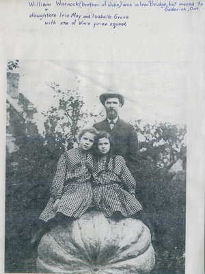 William Warnock and Daughters with Giant Squash, Iron Bridge, circa 1930