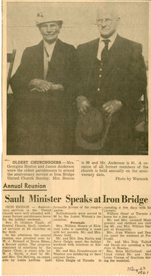 Sault Minister Speaks At Annual Church Reunion, Iron Bridge, 1961