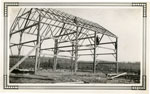 Eric Reid Farm, Barn Raising, Frame of Barn, 1933