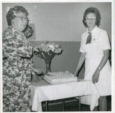 Mrs. Reba McClelland and Mrs. Lenora Gardiner, Iron Bridge, 1974