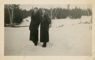 Mary Tulloch and Stella Tulloch (Alhusen), Iron Bridge, Circa 1940