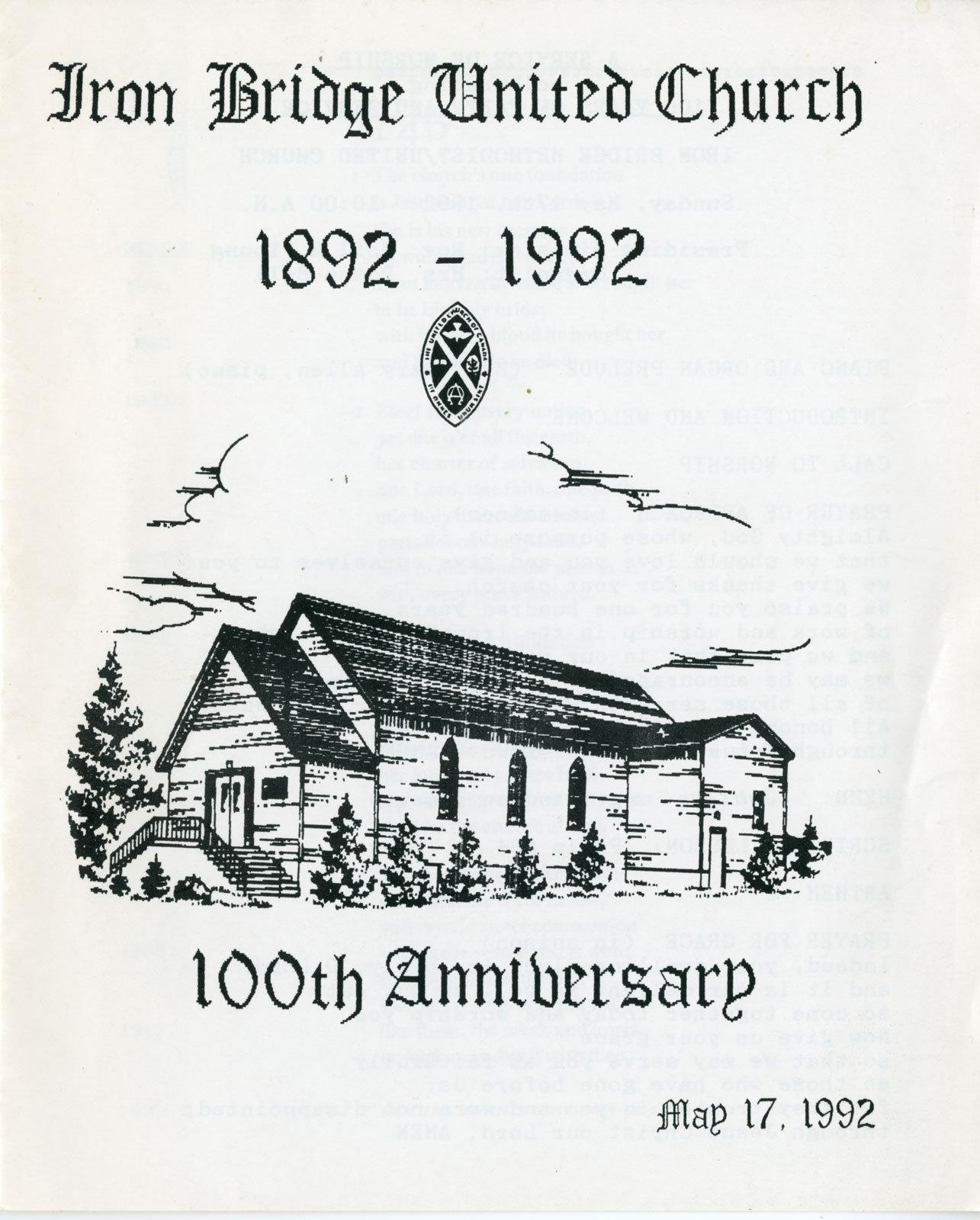 Iron Bridge United Church 100th Anniversary Church Service Program, 1992