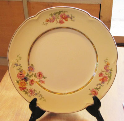 Ivory and Floral Decorator Plate, Circa 1940