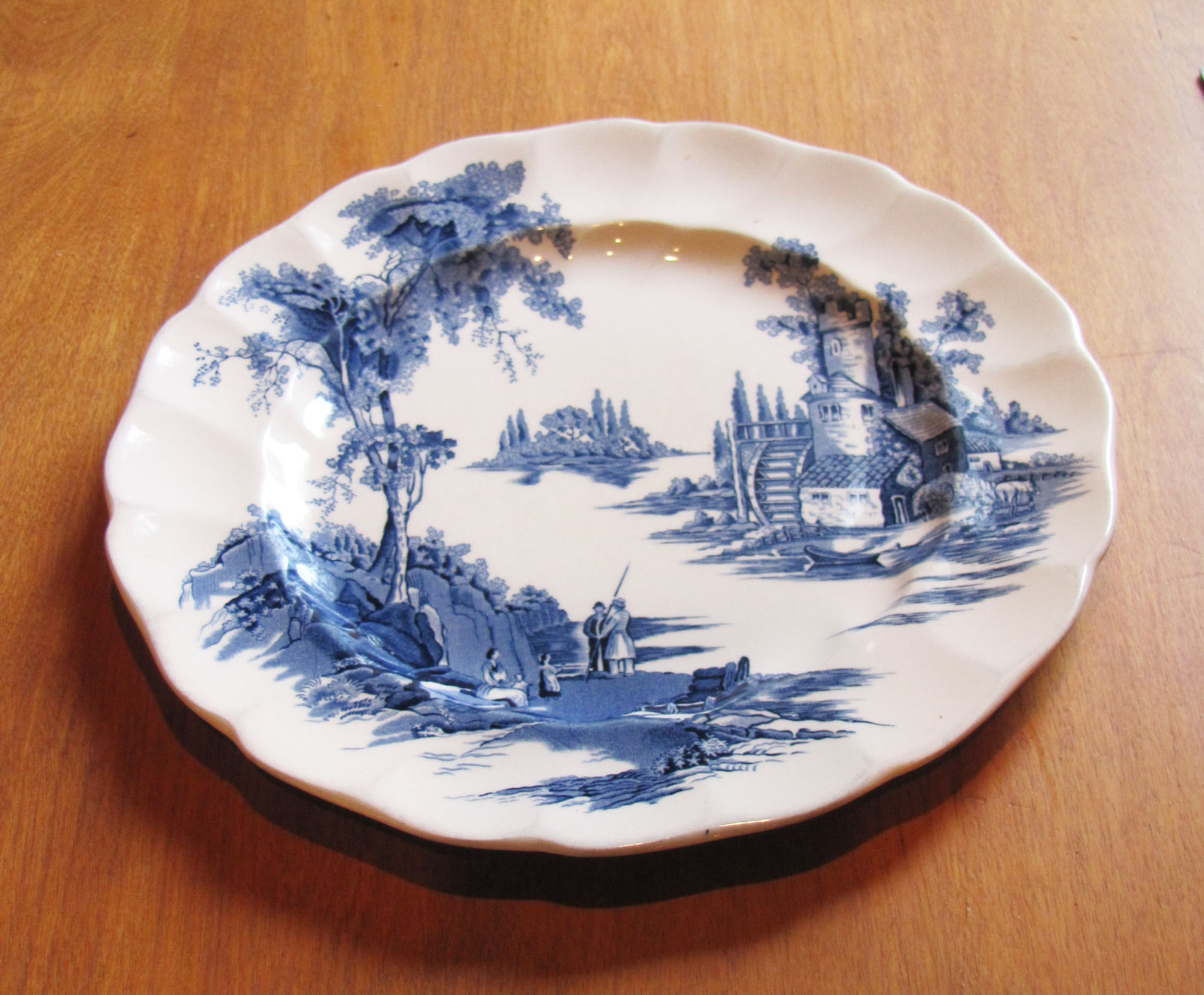Dinner Plate White and Blue Pattern, Circa 1955