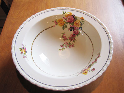 White China Bowl With Rose Floral Pattern, Circa 1920