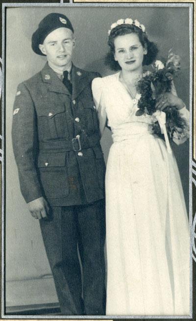 Wedding Photo of Berton Johnston and Stella Johnston, 1943