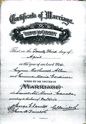 Marriage Certificate, Cyrus Allen and Emma Gardiner,Sault Ste. Marie, 1914
