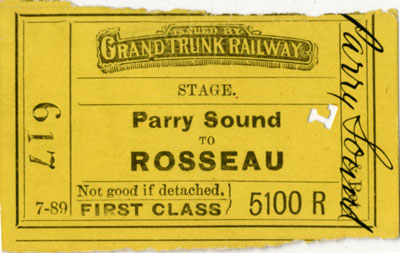 Stage ticket from Parry Sound to Rosseau
