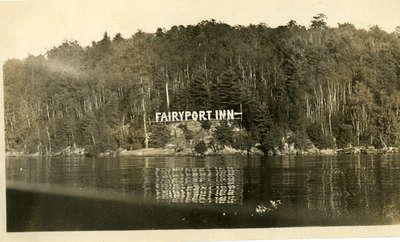 Fairyport Inn sign, Fairyport, Fairy Lake, Huntsville, Ontario, viewed from the water.