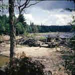 Distress Dam on the Big East River system, Muskoka, Ontario, 1949.