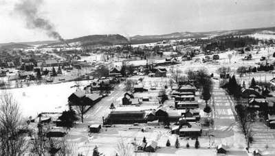 View of Huntsville, Ontario taken from the Lookout Mountain, looking north.  Fairy Avenue on the right. Church Street on the left.