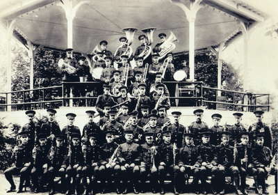 Anglo Canadian Leather Company Band (1915-1926) at the Susan Street band stand, Huntsville, Ontario.